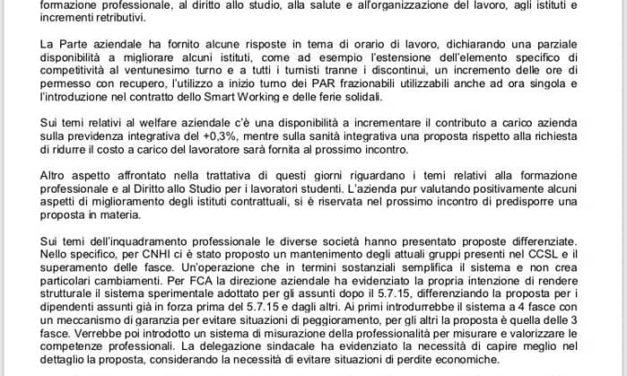 FCA-CNHI : CONTINUA LA TRATTATIVA SUL RINNOVO DEL CCSL