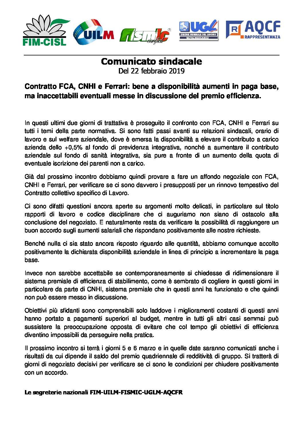 CONTRATTO FCA, CNHI E FERRARI: BENE A DISPONIBILITA AUMENTI IN PAGA BASE,MA INACCETTABILI EVENTUALI MESSE IN DISCUSSIONE DEL PREMIO EFFICIENZA