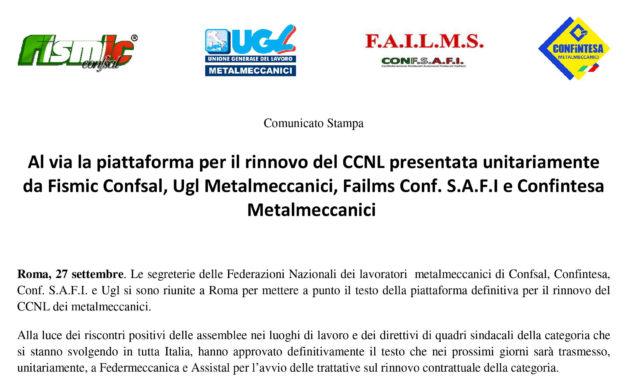 Al via la piattaforma per il rinnovo del CCNL presentata unitariamente da Fismic Confsal, Ugl Metalmeccanici, Failms Conf. S.A.F.I e Confintesa Metalmeccanici